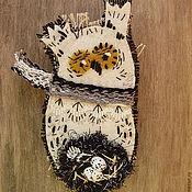 Украшения ручной работы. Ярмарка Мастеров - ручная работа Брошь текстильная Сова с гнездом. Handmade.