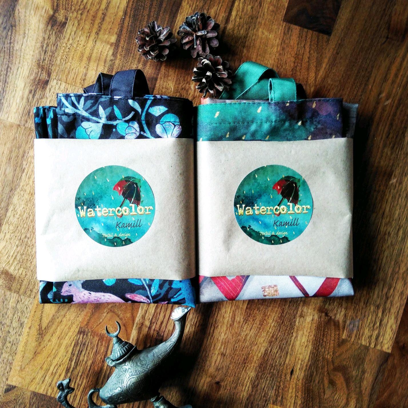 Сумка шоппер из плотной ткани с авторским принтом
