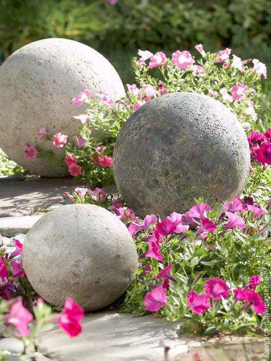достаточно редко цветники с камнями и шарами фото статье речь