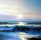 "Картины и панно handmade. Livemaster - original item Seascape oil Painting on canvas -""Morning on the sea"". Handmade."