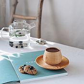 Посуда handmade. Livemaster - original item Textured tea pair from pine merengue series NC29. Handmade.