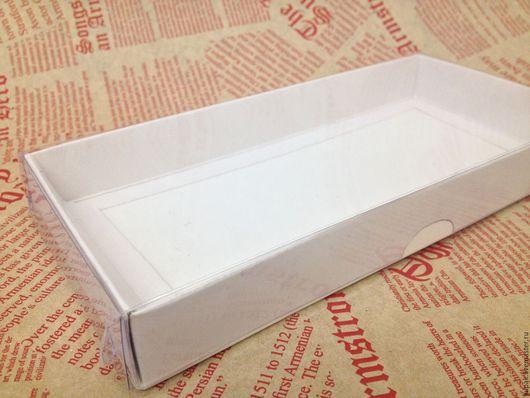 Упаковка ручной работы. Ярмарка Мастеров - ручная работа. Купить Коробка 21х10х2,5 с прозрачной крышкой. Handmade. Белый