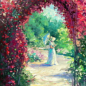 Картины и панно handmade. Livemaster - original item Oil painting on canvas, 35/50. The garden through the arch with roses.. Handmade.