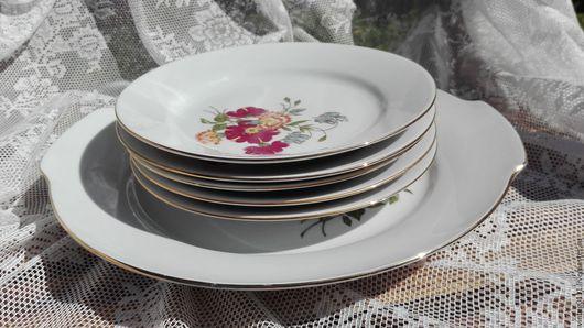 ... фарфоровый набор для десерта, производства старинной немецкой мануфактуры KAHLA, 60-70-е годы прошлого века...
