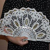 Аксессуары handmade. Livemaster - original item Fan GOLDEN SECRET Vologda Vyatka lace. Handmade.