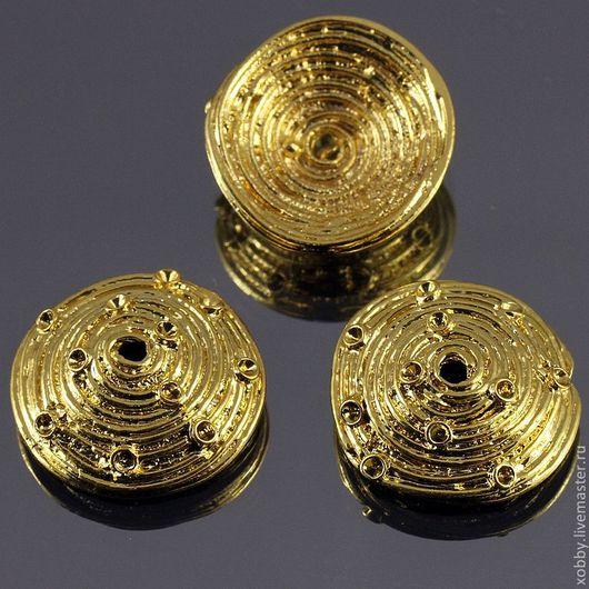 Шапочки для бусин Спираль большая из латуни с покрытием золотом по технологии gold plated для сборки украшений