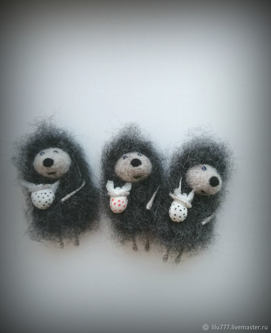'Hedgehog in the fog ' brooch felted hedgehog hedgehogs, Brooches, Ufa,  Фото №1