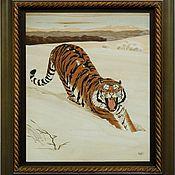 Картины и панно ручной работы. Ярмарка Мастеров - ручная работа Тигр на Снегу. Handmade.