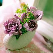 """Цветы и флористика ручной работы. Ярмарка Мастеров - ручная работа Интерьерная композиция """"Винтажные розы"""". Handmade."""