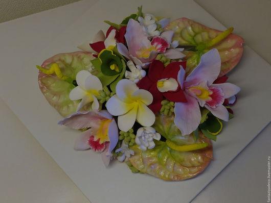 Картины цветов ручной работы. Ярмарка Мастеров - ручная работа. Купить Объемная картина с тропическими цветами из полимерной глины. Handmade.