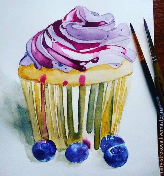 Акварельный капкейк прекрасный десерт, который будет радовать не только глаз, но и не отразится на фигуре.