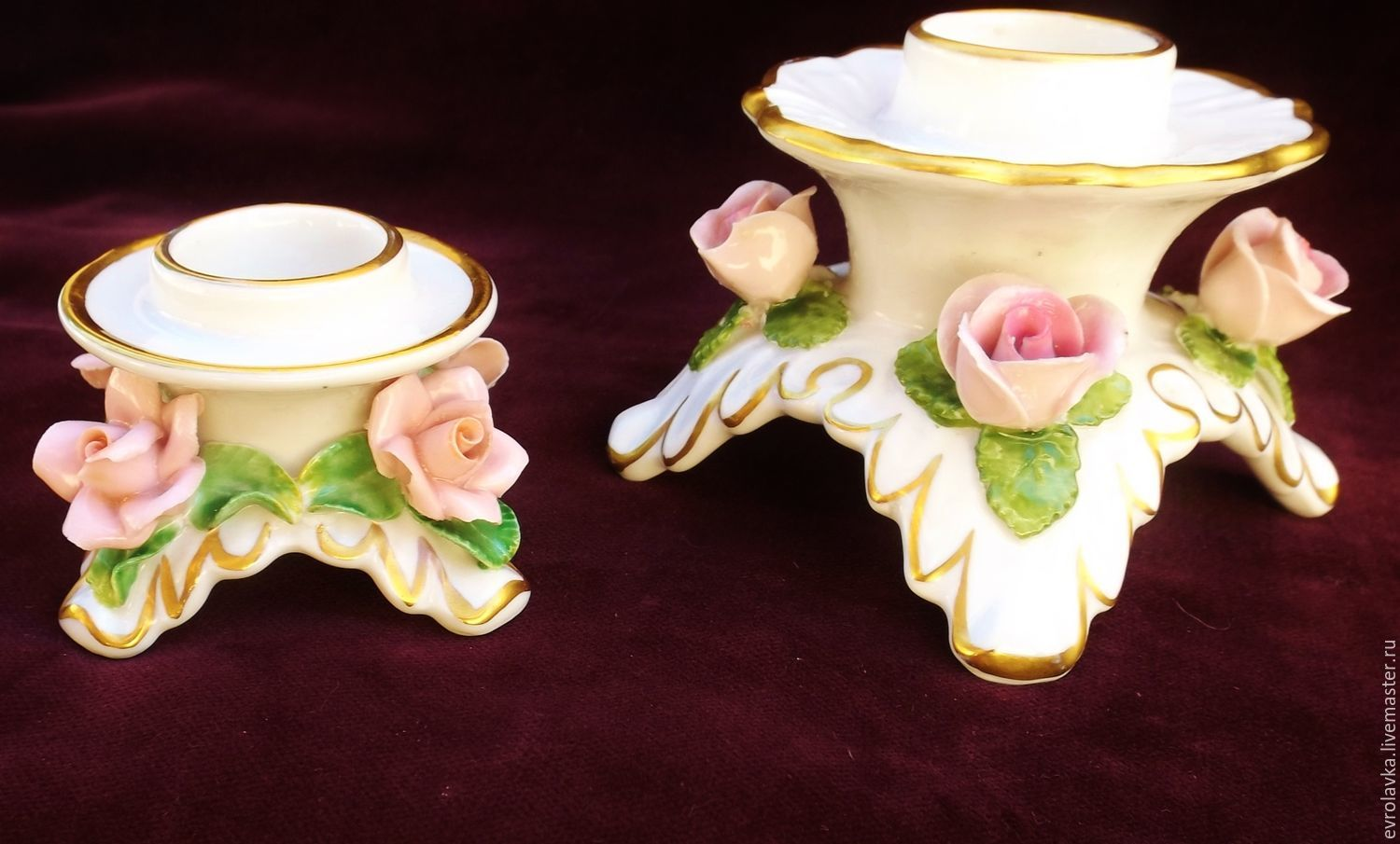 Porcelain candle holders with roses(set of) Kaag,Germany, Vintage interior, Trier,  Фото №1