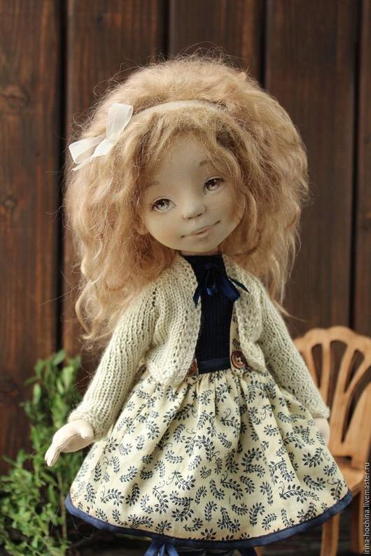 Коллекционные куклы ручной работы. Ярмарка Мастеров - ручная работа. Купить Текстильная авторская кукла Дина. Handmade. Коричневый