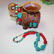 """Украшения ручной работы. Ярмарка Мастеров - ручная работа Колье+браслет """"Индийский слон"""" из коралла и бирюзы.Звериный. Handmade."""