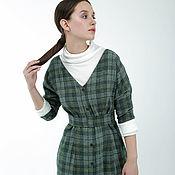 """Одежда ручной работы. Ярмарка Мастеров - ручная работа Шерстяное платье """"Одри"""" зеленая клетка. Handmade."""
