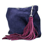 Сумки и аксессуары handmade. Livemaster - original item Cosmetic Bag Suede Clutch with Tassel Blue Case Organizer Purse. Handmade.