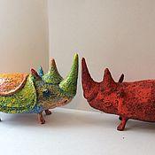 Мягкие игрушки ручной работы. Ярмарка Мастеров - ручная работа Носорог. Handmade.