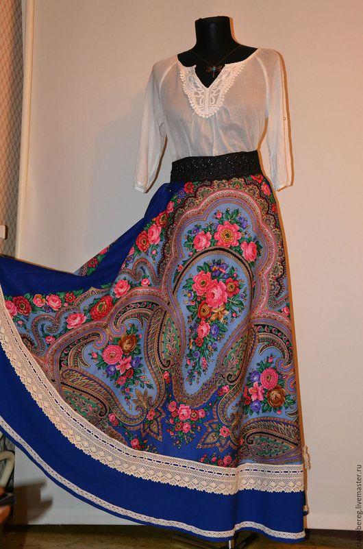 Юбка из ППП -*Любава*в синем цвете,юбка полусолнце пояс на резинке,по низу вставка из габардина+кружева,на подкладке,платок продублирован, Юбка нашла свою хозяйку с которой делится своей красотой)