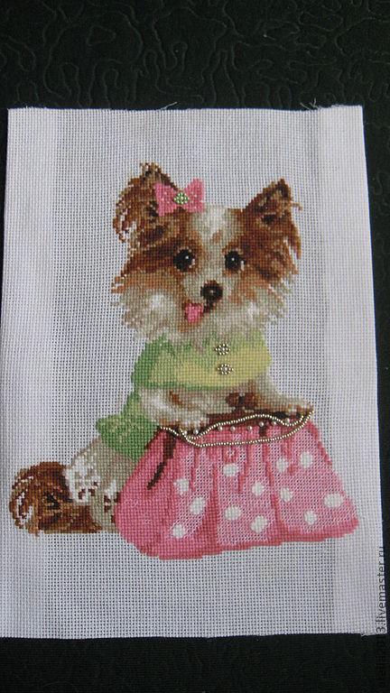 """Животные ручной работы. Ярмарка Мастеров - ручная работа. Купить """"Собачка с сумочкой"""". Handmade. Вышивка, картина в подарок, нитки шерсть"""