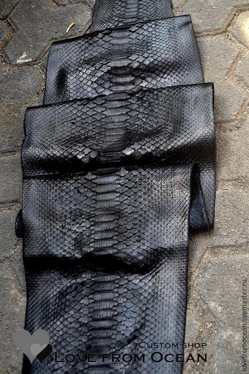 """Шитье ручной работы. Ярмарка Мастеров - ручная работа. Купить Кожа питона """"Black"""". Handmade. Черный, шкура змеи"""