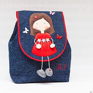 Работы для детей, ручной работы. Ярмарка Мастеров - ручная работа Детский джинсовый рюкзачок Маленькая принцесса Николь. Handmade.