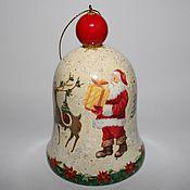 Подарки к праздникам ручной работы. Ярмарка Мастеров - ручная работа Колокольчик новогодний - 4  Новогодние игрушки декупаж. Handmade.