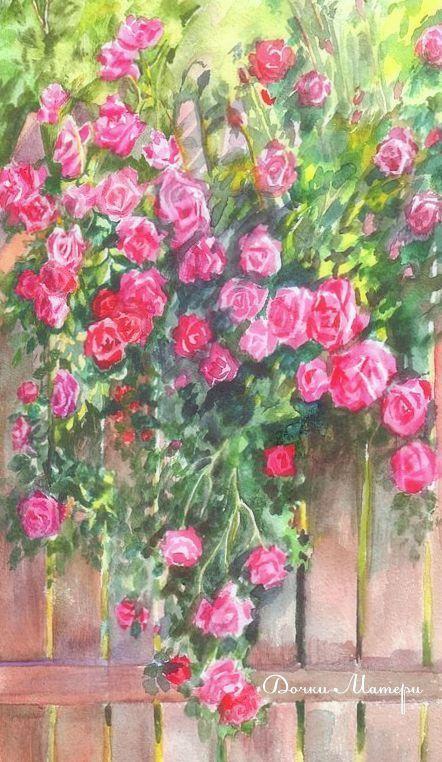 """Пейзаж ручной работы. Ярмарка Мастеров - ручная работа. Купить акварель """"Розовый заборчик"""". Handmade. Лето, солнце, розы, тепло"""