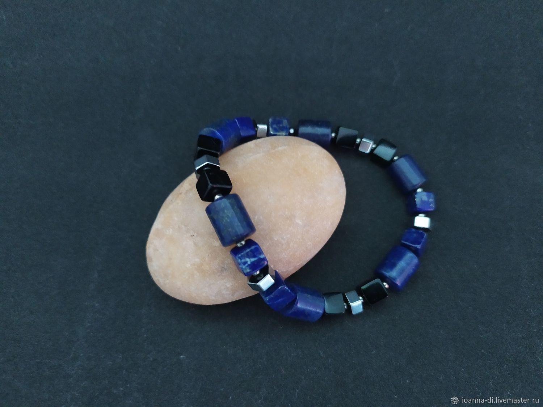 Lucky bracelet, lapis lazuli, hematite, Bead bracelet, Moscow,  Фото №1