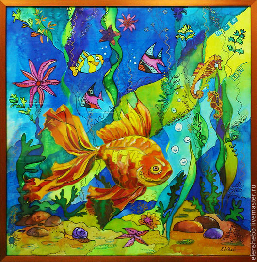 """Животные ручной работы. Ярмарка Мастеров - ручная работа. Купить """"Золотая рыбка"""" панно-картина - батик (на нат.шелке). Handmade."""