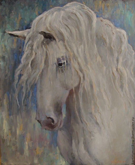 """Животные ручной работы. Ярмарка Мастеров - ручная работа. Купить Картина маслом """"Белая лошадь по имени Принцесса"""". Handmade. Белый"""