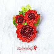 Украшения ручной работы. Ярмарка Мастеров - ручная работа Текстильная брошь заколка канзаши Baccara Rose, зажим с цветами. Handmade.