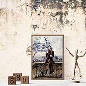 Картины и панно handmade. Livemaster - original item Painting on canvas Girl Paris (Eiffel tower purple beige). Handmade.