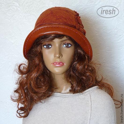 """Шляпы ручной работы. Ярмарка Мастеров - ручная работа. Купить Валяная шляпка """"Осенний багрянец"""" войлок, кожа.. Handmade. Рыжий"""