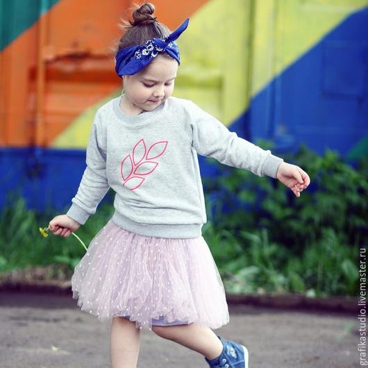 """Одежда для девочек, ручной работы. Ярмарка Мастеров - ручная работа. Купить Толстовка свитшот серый """"колосок"""". Handmade. Серый, толстовка"""