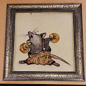 Картины ручной работы. Ярмарка Мастеров - ручная работа Картина из шерсти  Нирвана) Крыс с тарелками). Handmade.
