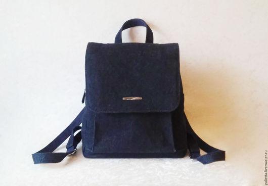 Рюкзаки ручной работы. Ярмарка Мастеров - ручная работа. Купить Городской рюкзак. Handmade. Синий, джинсовая ткань, металлическая фурнитура