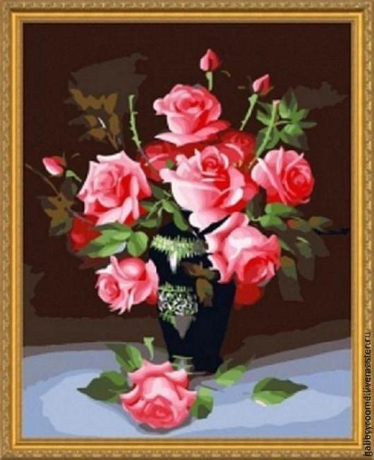 Другие виды рукоделия ручной работы. Ярмарка Мастеров - ручная работа. Купить Картина по номерам Розовые розы. Handmade.