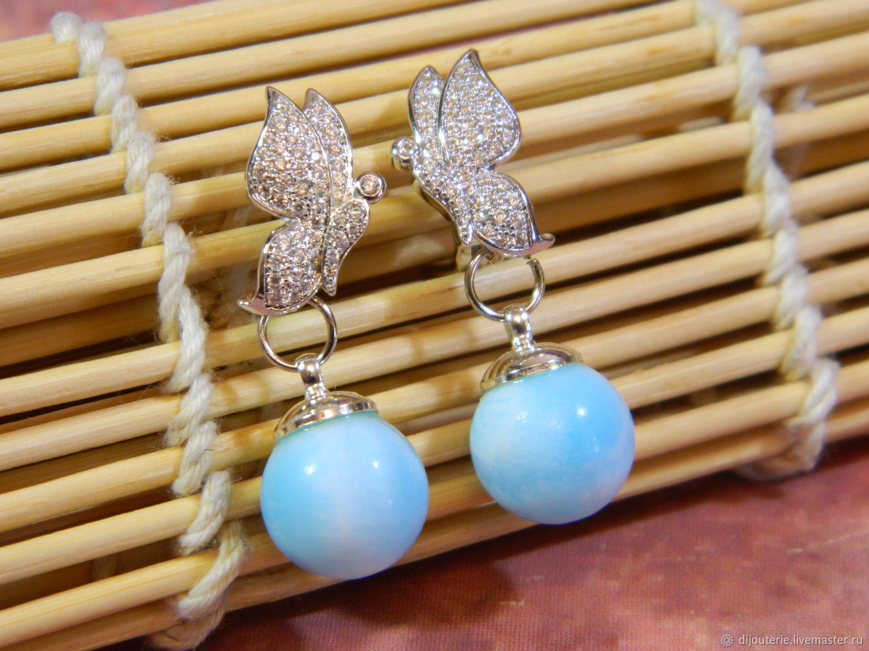 Butterfly earrings with Larimar, Earrings, Saratov,  Фото №1