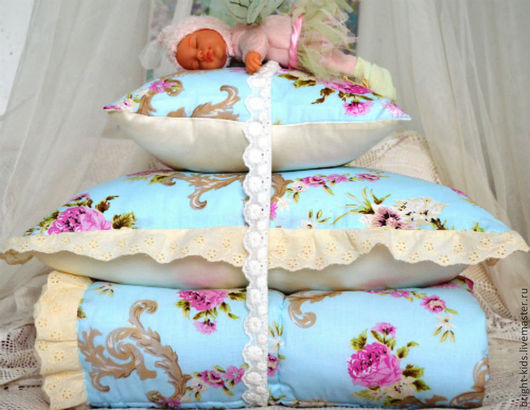 Для новорожденных, ручной работы. Ярмарка Мастеров - ручная работа. Купить Комплект для детской кроватки American Classic. Handmade. Кремовый