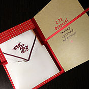 handmade. Livemaster - original item Card and handkerchief bow on February 23 with the embroidery of initials. Handmade.