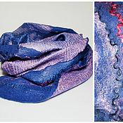 Шарфы ручной работы. Ярмарка Мастеров - ручная работа шарф валяный розово-синий. Handmade.