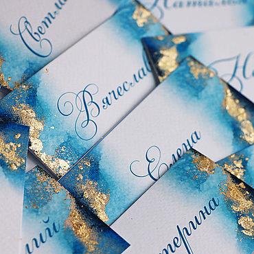 """Свадебный салон ручной работы. Ярмарка Мастеров - ручная работа """"Синева"""" рассадочные карточки. Handmade."""