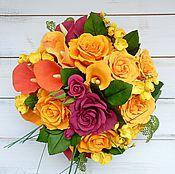 Цветы и флористика ручной работы. Ярмарка Мастеров - ручная работа Каллы с розами. Handmade.