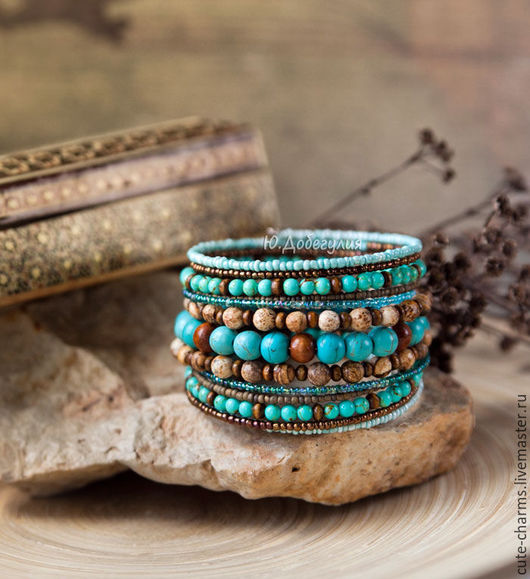 """Браслеты ручной работы. Ярмарка Мастеров - ручная работа. Купить """"Навахо"""". Этнический мемори-браслет с натуральным камнем и бисером. Handmade."""