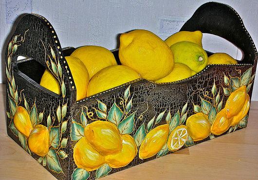 """Корзины, коробы ручной работы. Ярмарка Мастеров - ручная работа. Купить Короб """"Лимонный"""". Handmade. Лён"""