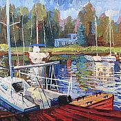 Картины и панно handmade. Livemaster - original item yachts. Oil painting . YACHT CLUB. Summer landscape.. Handmade.