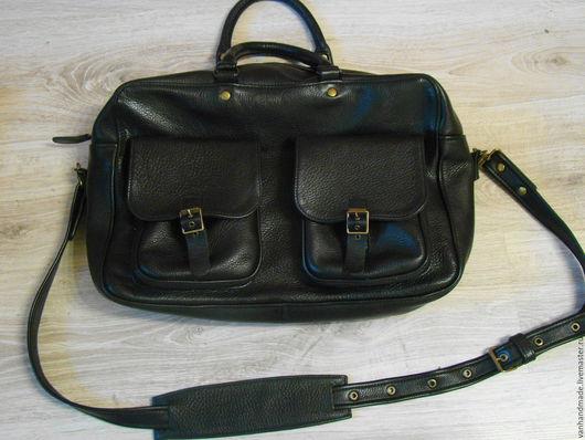 Мужские сумки ручной работы. Ярмарка Мастеров - ручная работа. Купить Кожаная мужская сумка. Handmade. Черный