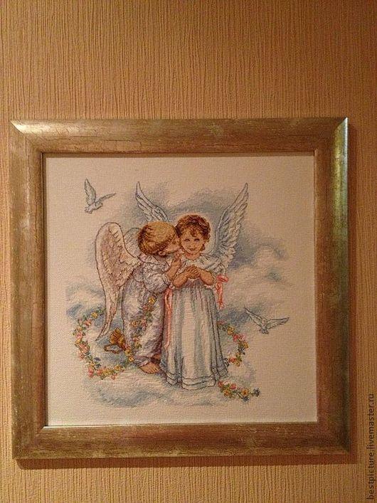 Люди, ручной работы. Ярмарка Мастеров - ручная работа. Купить Ангелочки. Вышитая картина. Handmade. Голубой, ангелочек, картина в подарок