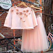 Одежда ручной работы. Ярмарка Мастеров - ручная работа Нежно -розовый комплект топ и пачка. Handmade.