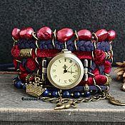Украшения handmade. Livemaster - original item Boho clock with stones, stylish, velvet
